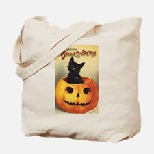 Vintage Halloween, Cute Black Cat Tote Bag