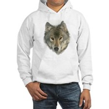 """""""Gray Wolf Face"""" Hoodie"""