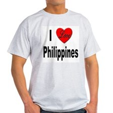 I Love Philippines (Front) Ash Grey T-Shirt