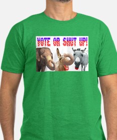 VOTE OR SHUT UP! Men's Fitted T-Shirt (dark)