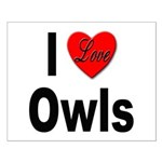 I Love Owls Small Poster