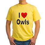 I Love Owls Yellow T-Shirt