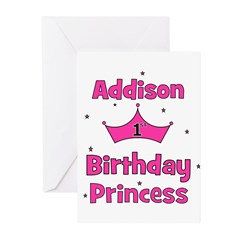 1st Birthday Princess Addison Greeting Cards (Pk o