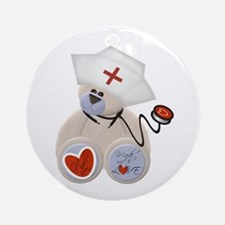 Nurse with Stethoscope Ornament (Round)