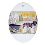 Landseer Newfoundland Pulling Cart Oval Ornament