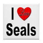 I Love Seals Tile Coaster