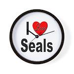 I Love Seals Wall Clock