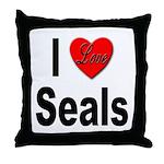 I Love Seals Throw Pillow
