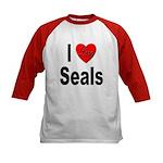 I Love Seals (Front) Kids Baseball Jersey