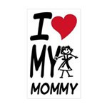 I Heart My Mommy Rectangle Sticker