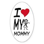 I Heart My Mommy Oval Sticker