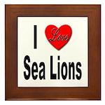 I Love Sea Lions Framed Tile