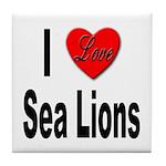 I Love Sea Lions Tile Coaster