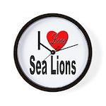 I Love Sea Lions Wall Clock