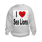 I Love Sea Lions Kids Sweatshirt
