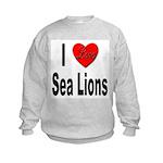 I Love Sea Lions (Front) Kids Sweatshirt