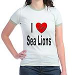 I Love Sea Lions Jr. Ringer T-Shirt