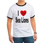 I Love Sea Lions Ringer T