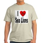 I Love Sea Lions (Front) Ash Grey T-Shirt