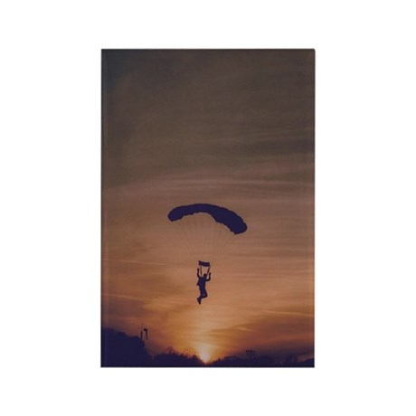 Rectangle Magnet (10 pack) with sunset skydiver