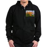 Poppies Zip Hoodie (dark)