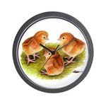Red Leghorn Chicks Wall Clock