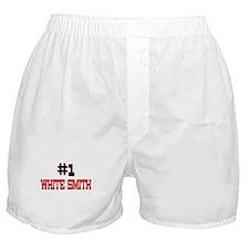 Number 1 WHITE SMITH Boxer Shorts
