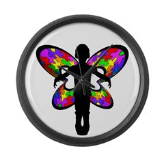 Autistic Butterfly Large Wall Clock
