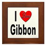 I Love Gibbon Framed Tile
