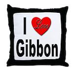 I Love Gibbon Throw Pillow