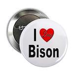 I Love Bison Button