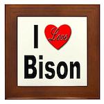 I Love Bison Framed Tile