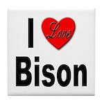I Love Bison Tile Coaster