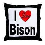 I Love Bison Throw Pillow