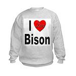 I Love Bison (Front) Kids Sweatshirt