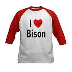 I Love Bison (Front) Kids Baseball Jersey