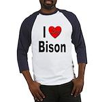 I Love Bison (Front) Baseball Jersey