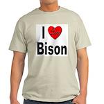 I Love Bison (Front) Ash Grey T-Shirt