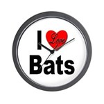 I Love Bats Wall Clock