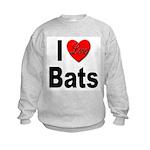 I Love Bats (Front) Kids Sweatshirt