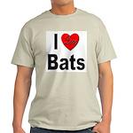 I Love Bats (Front) Ash Grey T-Shirt