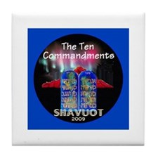Shavuot Ten Laws Tile Coaster