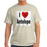 I Love Antelope (Front) Ash Grey T-Shirt
