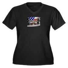Memorial Day Women's Plus Size V-Neck Dark T-Shirt