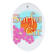 Surfer Girl Oval Ornament