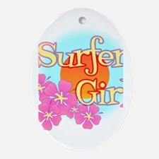 Surfer Girl Oval Ornament