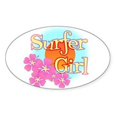 Surfer Girl Oval Decal