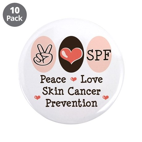 """Peace Love SPF 3.5"""" Button (10 pack)"""