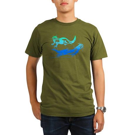 Otters Aquamarine Organic Men's T-Shirt (dark)
