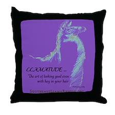 Llamatude Reverse Purple Throw Pillow